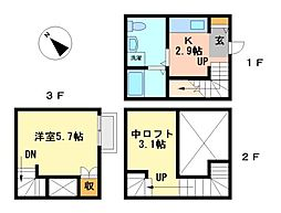 Felicity 鳴海[3階]の間取り