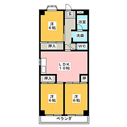 浅井ハイツ[3階]の間取り