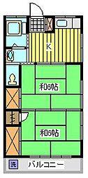 福田コーポ[1階]の間取り
