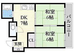 エムズ五井 2階2DKの間取り