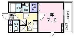 京成本線 京成小岩駅 徒歩5分の賃貸アパート 1階1Kの間取り