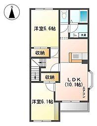 愛知県名古屋市守山区鳥羽見3丁目の賃貸アパートの間取り