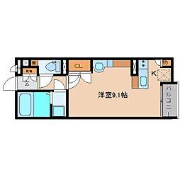 近鉄大阪線 五位堂駅 徒歩4分の賃貸アパート 2階ワンルームの間取り