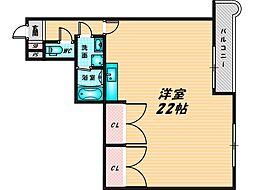 バレイシティ 3階ワンルームの間取り