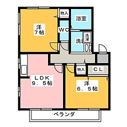アーバン星宮B棟[2階]の間取り