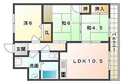 太秦黐の木館[4階]の間取り
