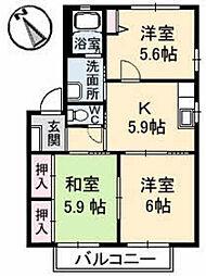 クレール新宮苑 B棟 2階3Kの間取り