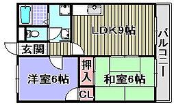 ハートフル岸和田[301号室]の間取り