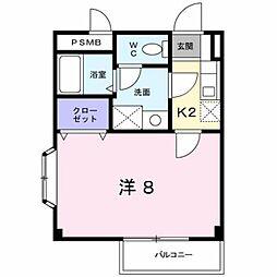 JR鹿児島本線 熊本駅 バス25分 大窪二丁目下車 徒歩3分の賃貸アパート 2階1Kの間取り