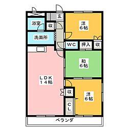 愛知県岡崎市大和町字沓市場の賃貸マンションの間取り