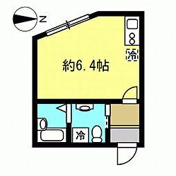 ワンカルテット永山 2階ワンルームの間取り