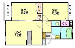福岡県糟屋郡志免町王子1丁目の賃貸アパートの間取り