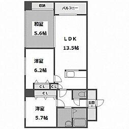 北海道札幌市中央区南十八条西12丁目の賃貸マンションの間取り