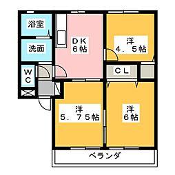 ワンズテル B棟[2階]の間取り