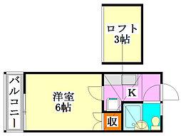 T・Oハイツ58[2階]の間取り