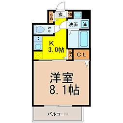 愛知県名古屋市西区那古野2丁目の賃貸マンションの間取り