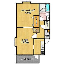 福岡県福岡市西区内浜1丁目の賃貸アパートの間取り