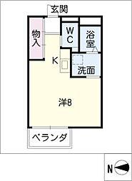 ECO COURT 2 3階ワンルームの間取り