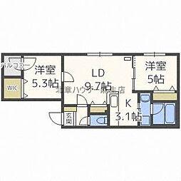 北海道札幌市北区北三十八条西7丁目の賃貸マンションの間取り