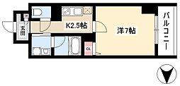 仮)道下町プロジェクト 7階1Kの間取り