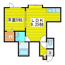 札幌市営東豊線 元町駅 徒歩2分の賃貸アパート 3階1LDKの間取り