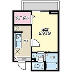 唐木田ハウス 3階1Kの間取り