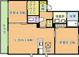 三洋タウン上香月 B棟[1階]の間取り