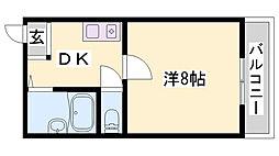 JR加古川線 社町駅 徒歩18分の賃貸マンション 2階1DKの間取り