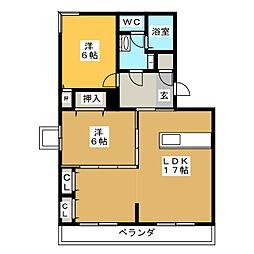 ニューサンハイツ中田[3階]の間取り