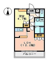 コートヴェール中島田II[202号室]の間取り