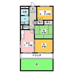 ソレアード81A[1階]の間取り
