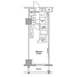 ザ・パークハビオ恵比寿プレイス 9階ワンルームの間取り