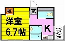 上野西グランハイツB[3階]の間取り