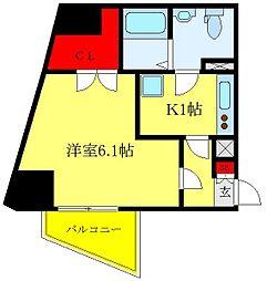 都営三田線 西巣鴨駅 徒歩10分の賃貸マンション 3階1Kの間取り