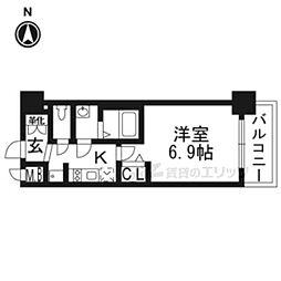 京都市営烏丸線 十条駅 徒歩5分の賃貸マンション 2階1Kの間取り