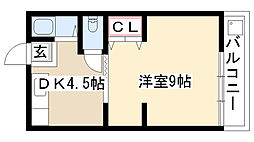 愛知県名古屋市瑞穂区関取町の賃貸アパートの間取り