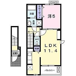 埼玉県鴻巣市すみれ野の賃貸アパートの間取り
