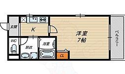 Osaka Metro谷町線 関目高殿駅 徒歩5分の賃貸マンション 2階1Kの間取り