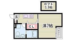 JR東海道・山陽本線 鷹取駅 徒歩15分の賃貸アパート 3階1Kの間取り
