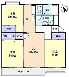 花見川ライオンズプラザ6号棟[3階]の間取り