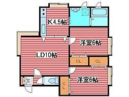 福住2000A[1階]の間取り