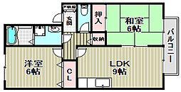 大阪府堺市北区百舌鳥陵南町2丁の賃貸アパートの間取り