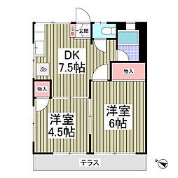埼玉県春日部市増富の賃貸アパートの間取り