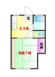 東京都中野区中央3丁目の賃貸アパートの間取り