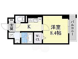 阪急京都本線 高槻市駅 徒歩3分の賃貸マンション 6階1Kの間取り