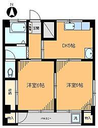 コーポアサカ江北[201号室]の間取り
