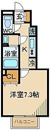 西武多摩川線 多磨駅 徒歩6分の賃貸アパート 1階1Kの間取り