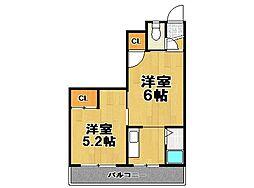 大島マンション[401号室]の間取り