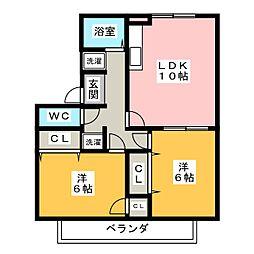 リヴァイア野並[2階]の間取り