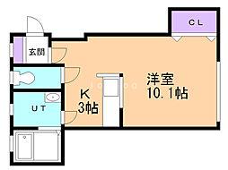 メゾン・ド・ボヌシャンス 1階1Kの間取り